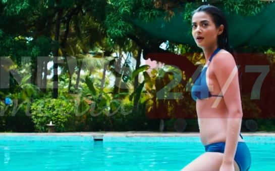 Surveen-Chawla-in-Blue-Bikini